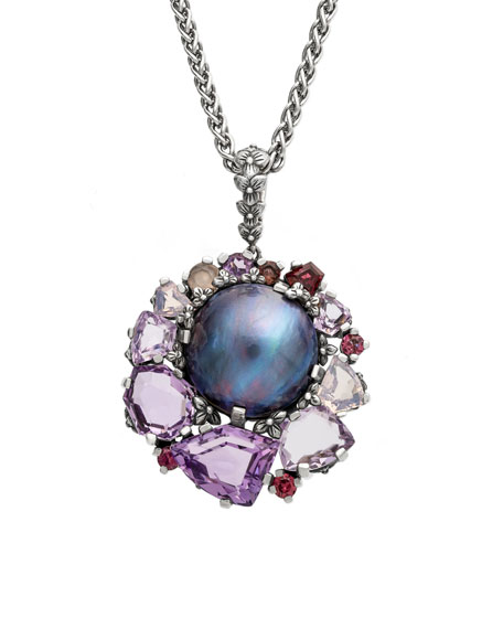 Stephen Dweck Pearl & Mixed-Stone Pendant Necklace