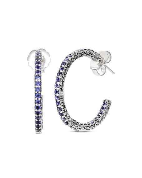 Stephen Dweck Large Iolite Hoop Earrings