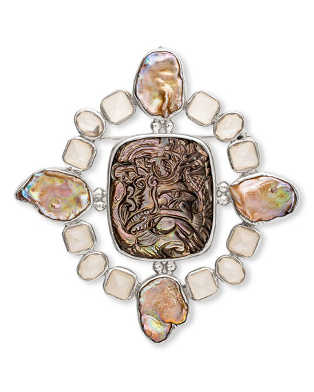 Stephen Dweck Carved Mother-of-Pearl Brooch