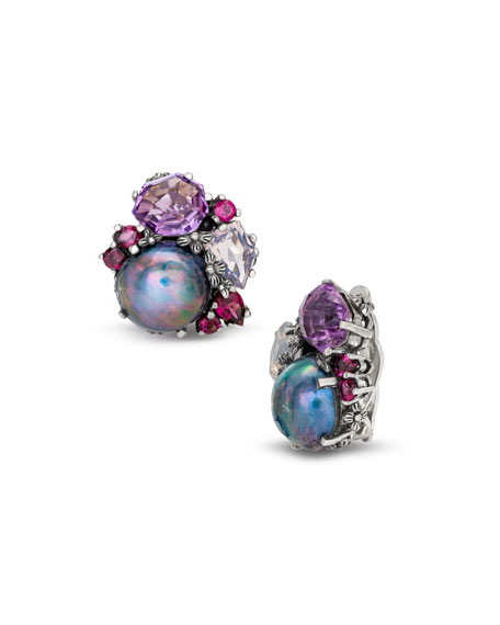 Stephen Dweck Pearl & Mixed-Stone Clip-On Earrings