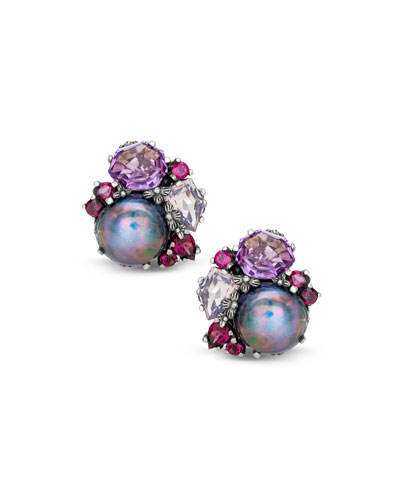 Pearl & Mixed-Stone Clip-On Earrings