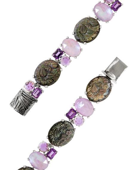 Stephen Dweck Carved Mother-of-Pearl & Amethyst Bracelet