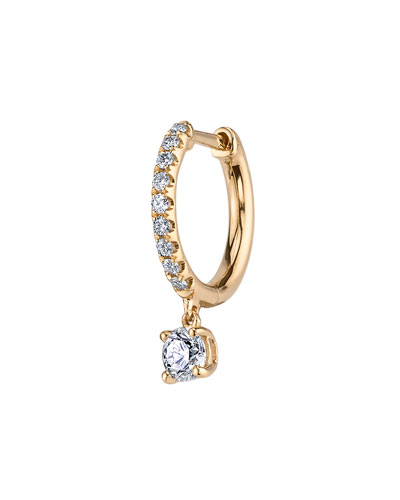 18k Gold Diamond Huggie Hoop Earring (Single)