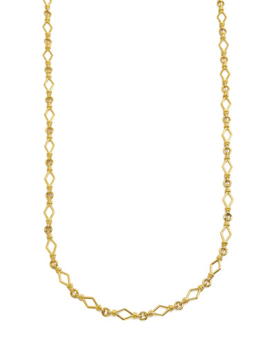 18k Gold Round & Diamond-Shape Chain-Link Necklace  16L