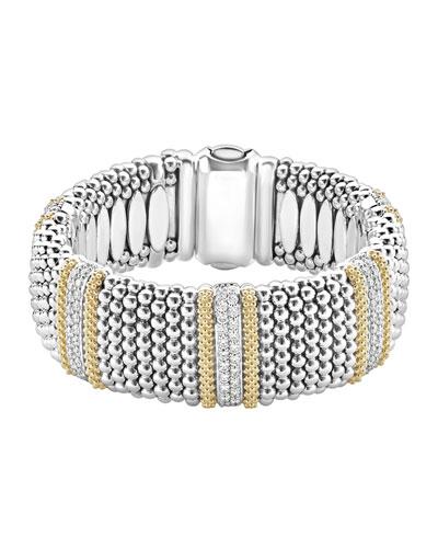 Diamond Lux Caviar 23mm 5-Station Bracelet