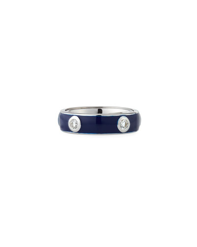 Blue Enamel Band Ring with White Diamonds  Size 7
