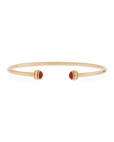 18k Rose Gold Possession Open Bangle with Carnelian