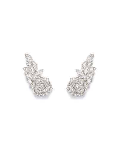 Rose 18k White Gold Diamond Earrings