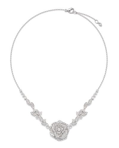 Rose 18k White Gold Diamond Necklace