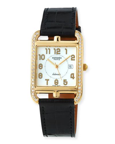 18k Gold Cape Cod GM Diamond Watch with Alligator Strap