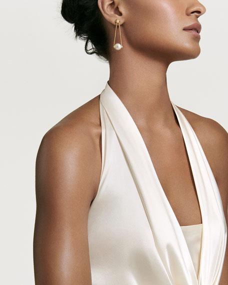 David Yurman Solari 18k Gold Diamond & Pearl Drop Earrings