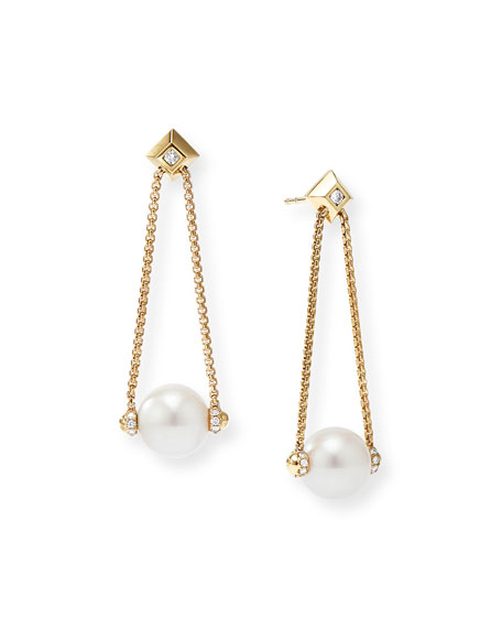 David Yurman SOLARI 18K GOLD DIAMOND & PEARL DROP EARRINGS