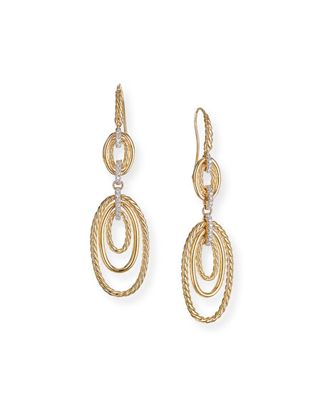 David Yurman CONTINUANCE 18K GOLD DIAMOND MULTI-DROP EARRINGS