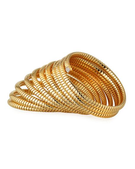 Marina B Trisola 18k Diamond 10-Row Coil Bangle, Size M