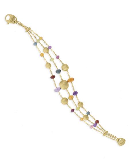 Marco Bicego Africa 18k Mixed Gemstone 3-Strand Bracelet