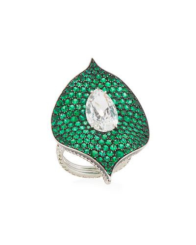 Platinum, Emerald & Diamond Ring