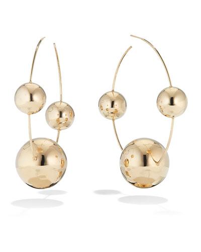 14k Gold Lumen Triple Bead Hoop Earrings