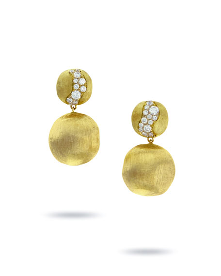 Marco Bicego 18k Gold Africa Diamond Constellation Double-Drop Earrings