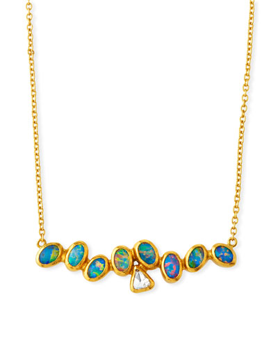 One-of-a-Kind Horizontal Bar Necklace with Diamond & Opal in 24k Gold