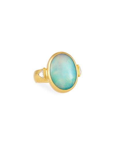 One-of-a-Kind Gold Opal Cocktail Ring, Size 6.5