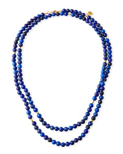 Long Single-Strand Lapis Necklace