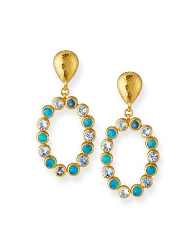 One-of-a-Kind 24k Gold Opal & Aquamarine Drop Earrings