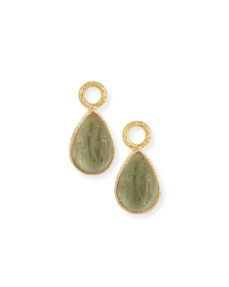 19k Gold Venetian Glass Pear Earring Charms