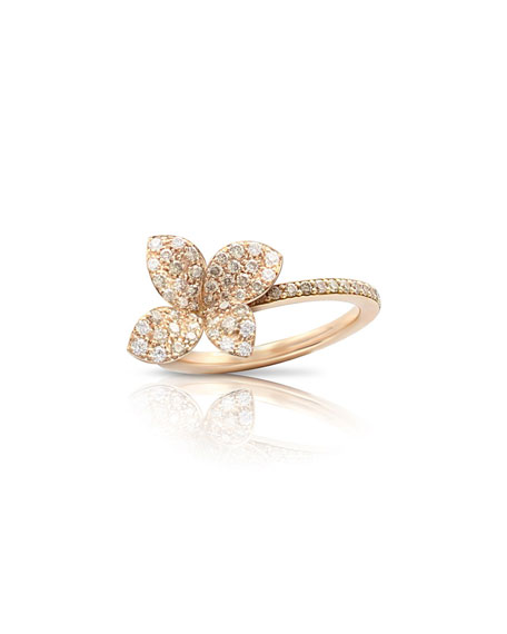 Pasquale Bruni Giardini Segreti 18k Rose Gold Diamond Flower Ring