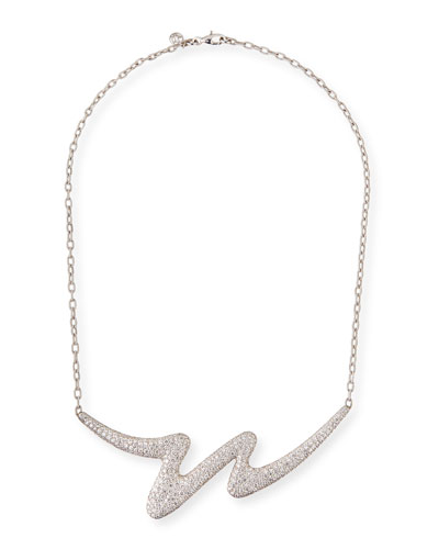 Brushstroke 18k White Gold Diamond Necklace
