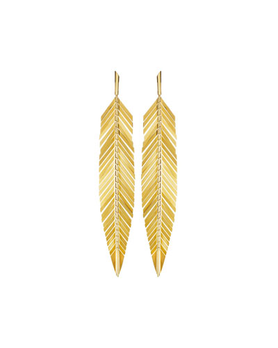 18k Gold Large Feather Drop Earrings
