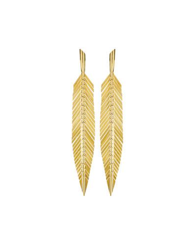 18k Gold Medium Feather Drop Earrings