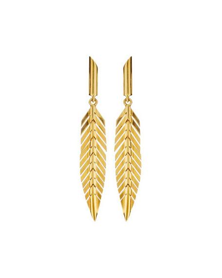 CADAR 18k Gold Small Feather Drop Earrings