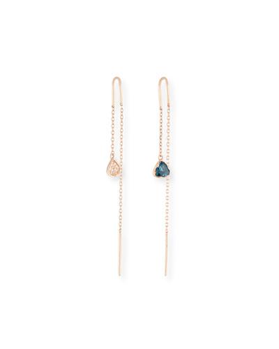 14k Rose Gold Mismatch Threader Earrings