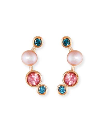 Misfit 14k Rose Gold Pearl & Stone Ear Climbers