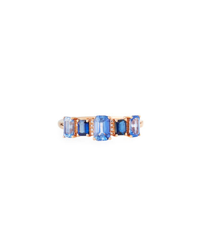 14k Rose Gold Blue Sapphire & Diamond Band  Size 7