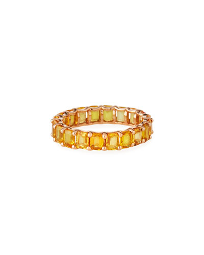 14k Rose Gold Yellow Sapphire Eternity Ring, Size 7