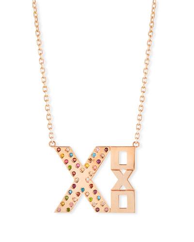 14k Rose Gold XOXO Rainbow Diamond Necklace