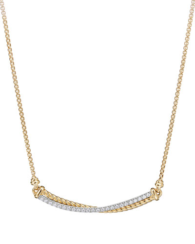 Crossover 18k Gold Bar Necklace with Diamonds, 16-17