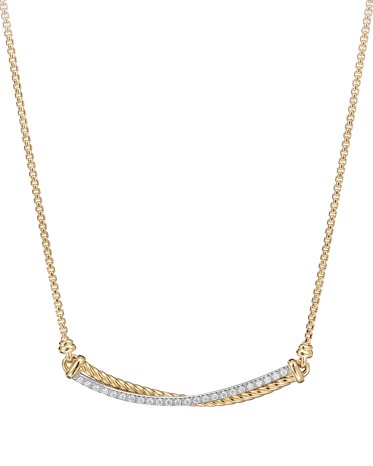 Crossover 18k Gold Bar Necklace With Diamonds 16 17