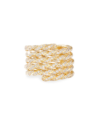 Pave Flex 18k Gold Diamond Coil Ring, Size 6