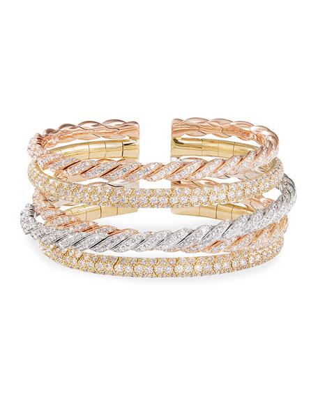 David Yurman Pave Flex 18k Tricolor 5-Row Diamond Bracelet, Size M