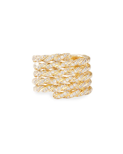 Pave Flex 18k Gold Diamond Coil Ring, Size 8