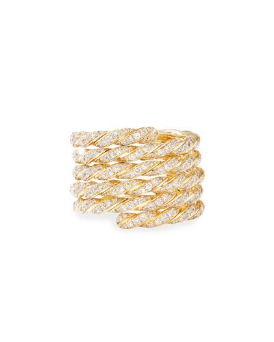 Pave Flex 18k Gold Diamond Coil Ring, Size 9