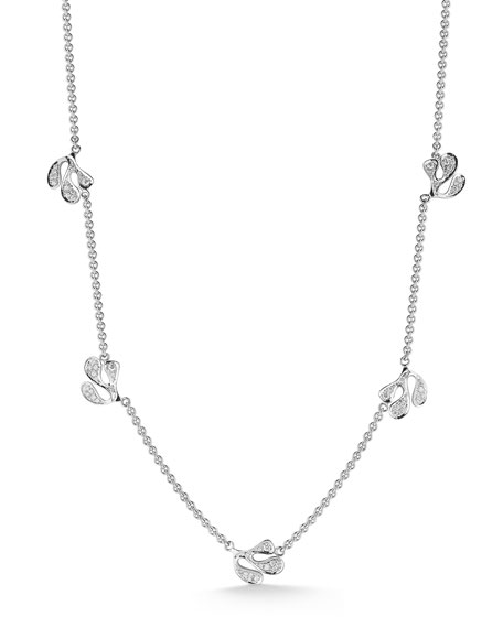 Miseno Sea Leaf 18k White Gold Diamond Station Necklace