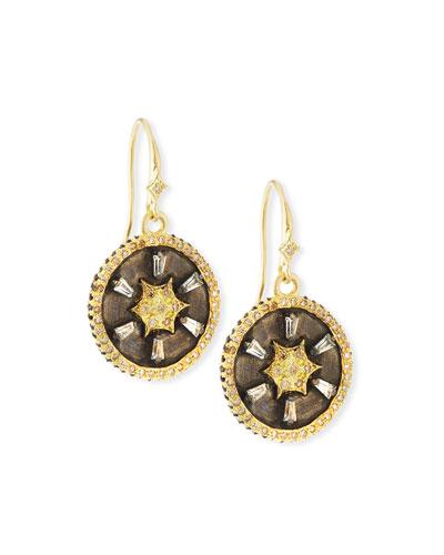 Old World Star Disc Drop Earrings