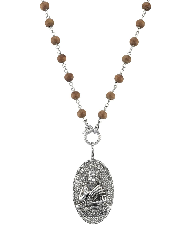ffc8ca77ec780e Sheryl Lowe Long Wood & Diamond Buddha Pendant Necklace | Neiman Marcus