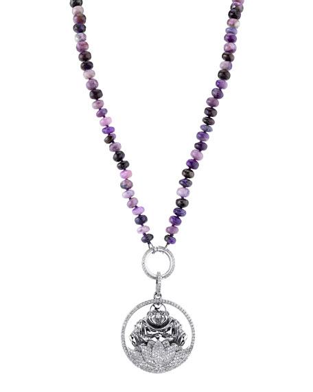 Sheryl Lowe Long Sugilite & Diamond Buddha Pendant Necklace