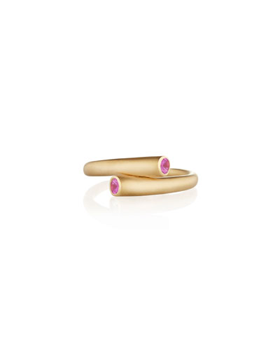 Whirl 18k Gold 2-Sapphire Ring  Pink