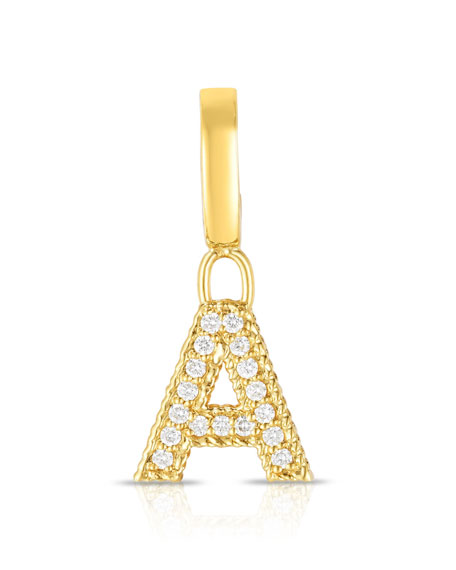 Roberto Coin 18k Gold & Diamond Letter A Charm