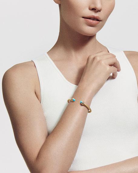 David Yurman Renaissance 18k Gold, Turquoise & Topaz Bracelet, Size L